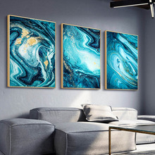 3 Panels Nordic Sea Blue Golden Abstract Color Canvas Painting Wall Art Poster Quadro Pictures Cuadros Home Decoration