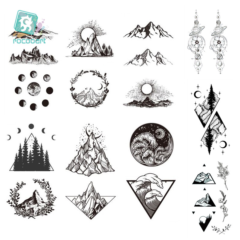 Rocooart Planet Sun Mountain Pine Tree Temporary Tattoos Sticker Triangle Wave Custom Tattoo Body Art Arm Black Small Fake Tatoo