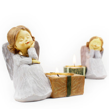 Candlestick Angel Home Decor Candles Craft Home Decoration Resin catholic statue Creative Weddingg gift One set 10 pcs set mini resin statue laocoon michelangelo apollo athena alexander home decoration figure sketch drawing practice model