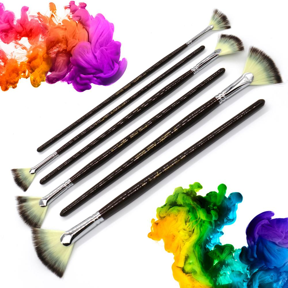 SeamiArt 6Pcs Fan shaped Nylon Hair Gouache Watercolor Paint Brush Set for School Painting Drawing Painting Brush Art Supplies 6