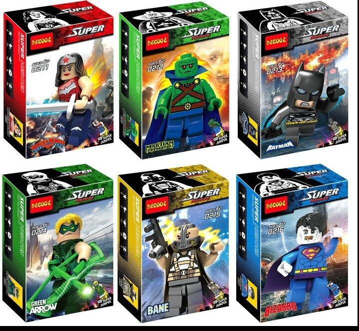6pcs Decool 0211-0216 Super Heroes Avenger 2 Wonder Woman Martian Manhunter Batman Bane Bizarro Assemble Building Block Toys