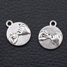 Double-Side Hand Pull Hook Tag Round Pendant Gesture Language Charms Oath of promise charms Love Hand in Hand Charms 15pcs hand in hand