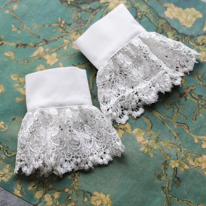 THINKTHENDO 2pcs/pair Women Girl Fake Cuff Gloves Crotchet Floral Lace Pleated Ruched Hollow