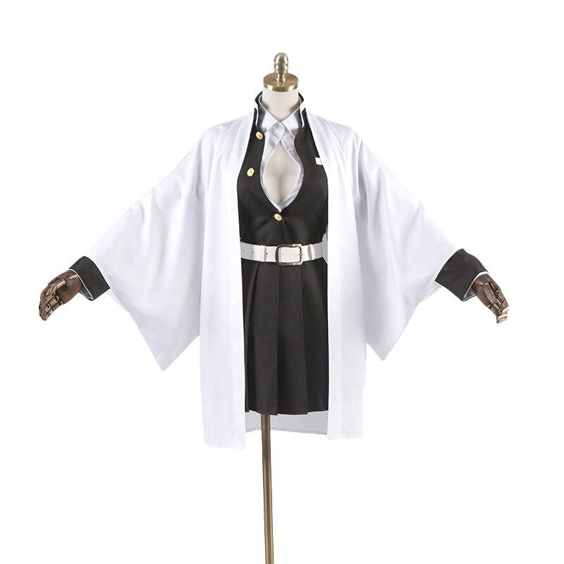 Anime démon Slayer: Kimetsu no Yaiba Cos Kanroji Mitsuri Costume Cosplay femme 6in1 manteau + chemise + haut noir + jupe + ceinture + chaussettes