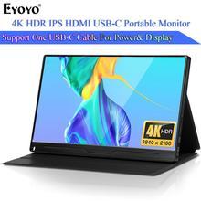 "Eyoyo EM13Q 13.3 ""VESA UHD 3840x2160를 가진 휴대용 HDMI 도박 감시자 LCD 스크린 PC 전화 PS4 Xbox 스위치를위한 4K IPS USB 유형 C"