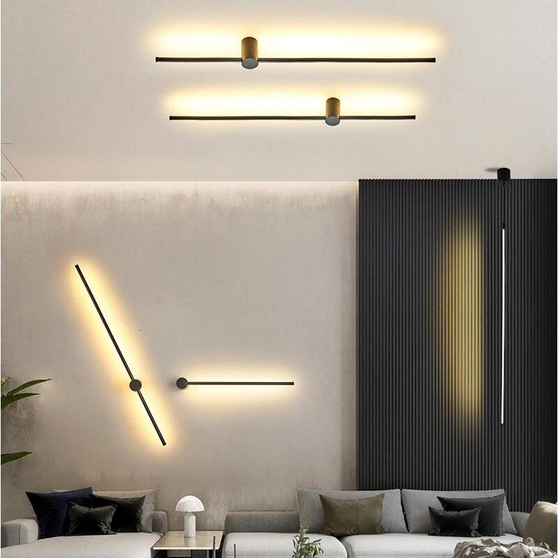 Moderna lámpara de pared LED colgante largo luces Simple nórdico sofá sala de estar Fondo luz de pared dormitorio lámpara de pie