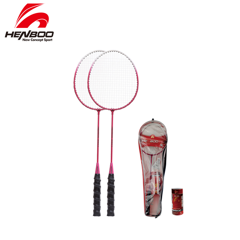 HENBOO Professional Badminton Racket Set Family Double Iron Alloy Badminton Racket Lightest Durable Standard Use Badminton 2301