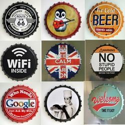 Bouchon de bouteille de bière 35CM, Plaque rétro en métal, signes en étain, café, Bar, Pub, panneau mural, décor Vintage, nostalgie, assiettes rondes, affiche d'art