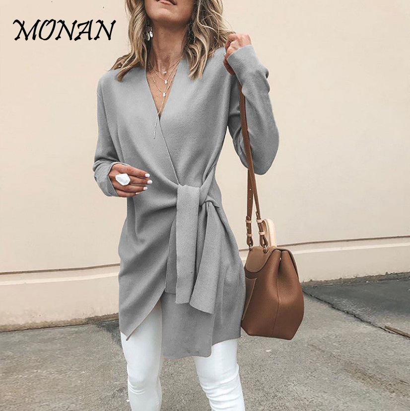 Sweet Bow Bandage Women Cardigan 2019 New Design Ruffle Cardigan Sweater Elegant V Neck Sweater Top Kardigan Long Trench Coat