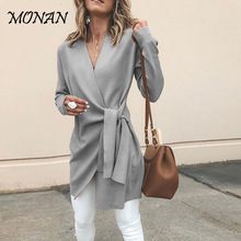 Sweet Bow Bandage Women Cardigan 2019 New Design Ruffle Cardigan Sweater Elegant V Neck Sweater Top