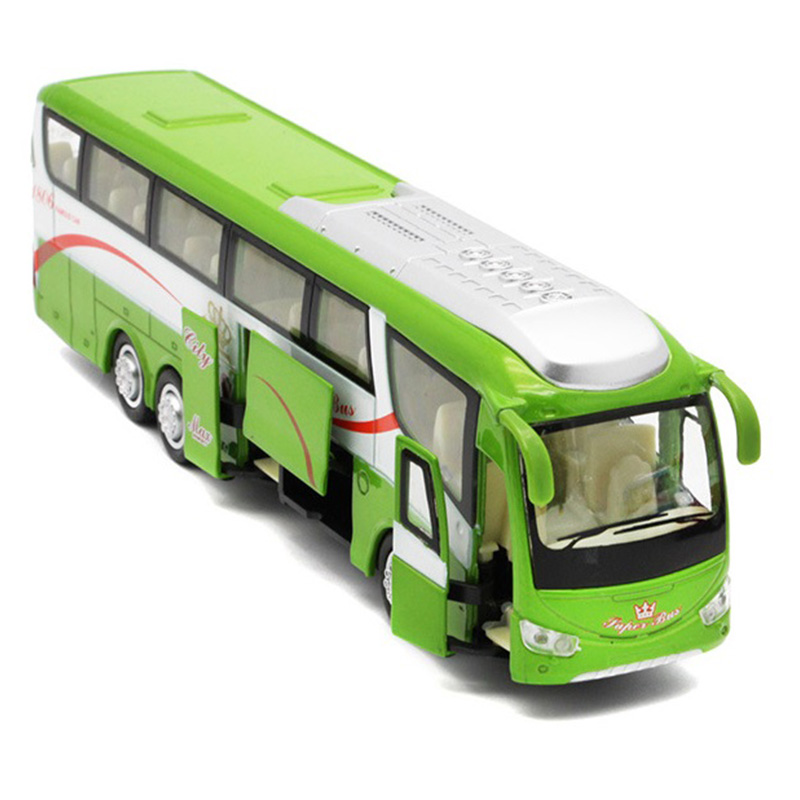 1:32 Alloy Car Models High Simulation City Bus Metal Diecasts Toy Vehicles Pull Back and Flashing and Musical,Green
