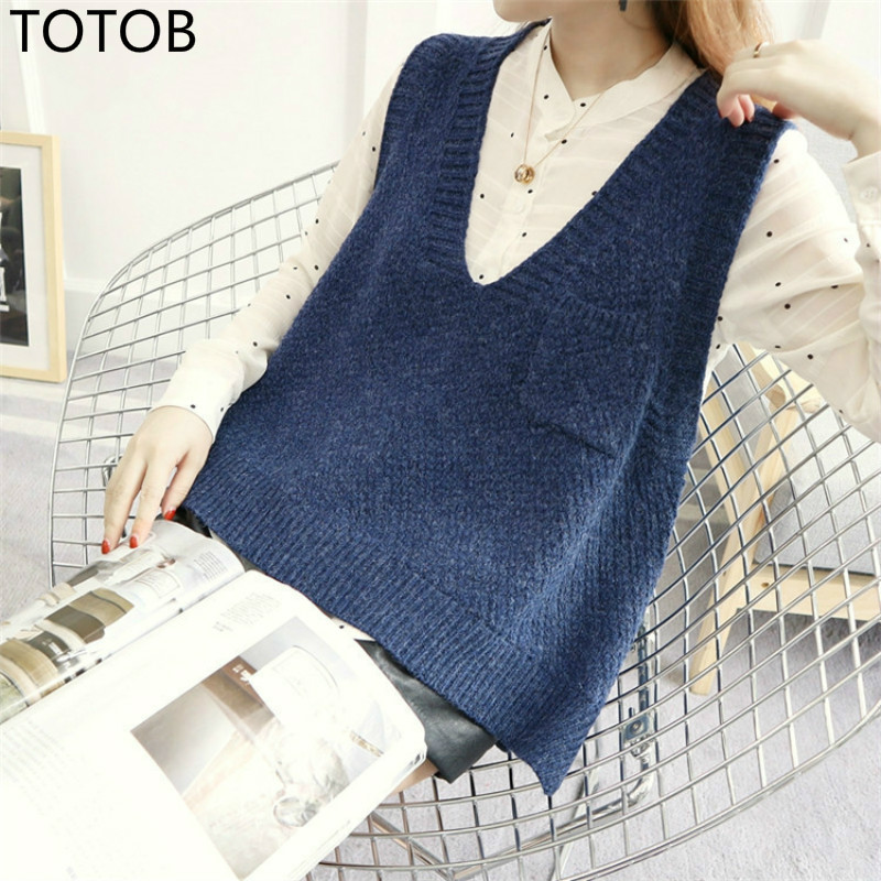 TOTOB Korean Style Autumn Winter Sleeveless Short Sweaters Vest Women Fashion Knitted Pullover With Pockets V Neck Jumpers