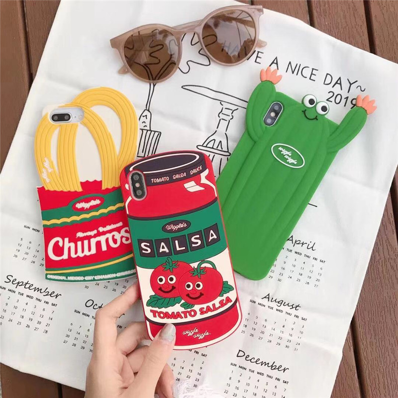 <font><b>Korean</b></font> delicious 3D ketchup fried churros cactus anti-drop silicone soft cover for <font><b>iphone</b></font> 11pro MAX XS <font><b>XR</b></font> 7 8plus X phone <font><b>cases</b></font> image