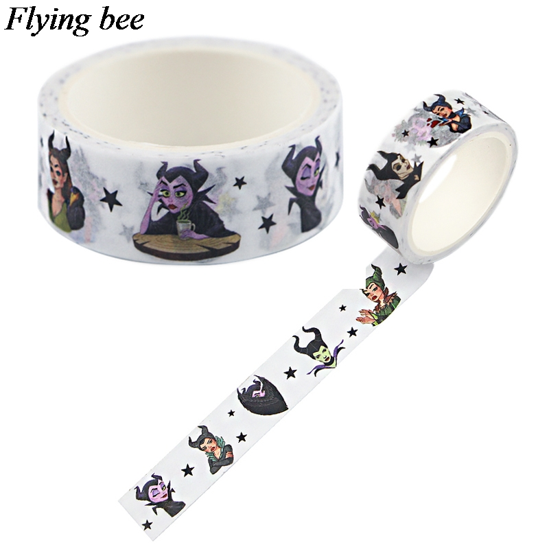 Flyingbee 15mmX5m Paper Washi Tape  Evil Queen Adhesive Tape DIY Scrapbooking Sticker Label Masking Tape X0741