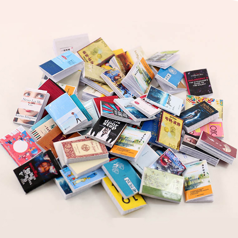 40pcs/lot Dolls Miniature Books For Doll House 1/12 Furniture Toy Role Play Education Toys Children Girls Gifts Mini Book