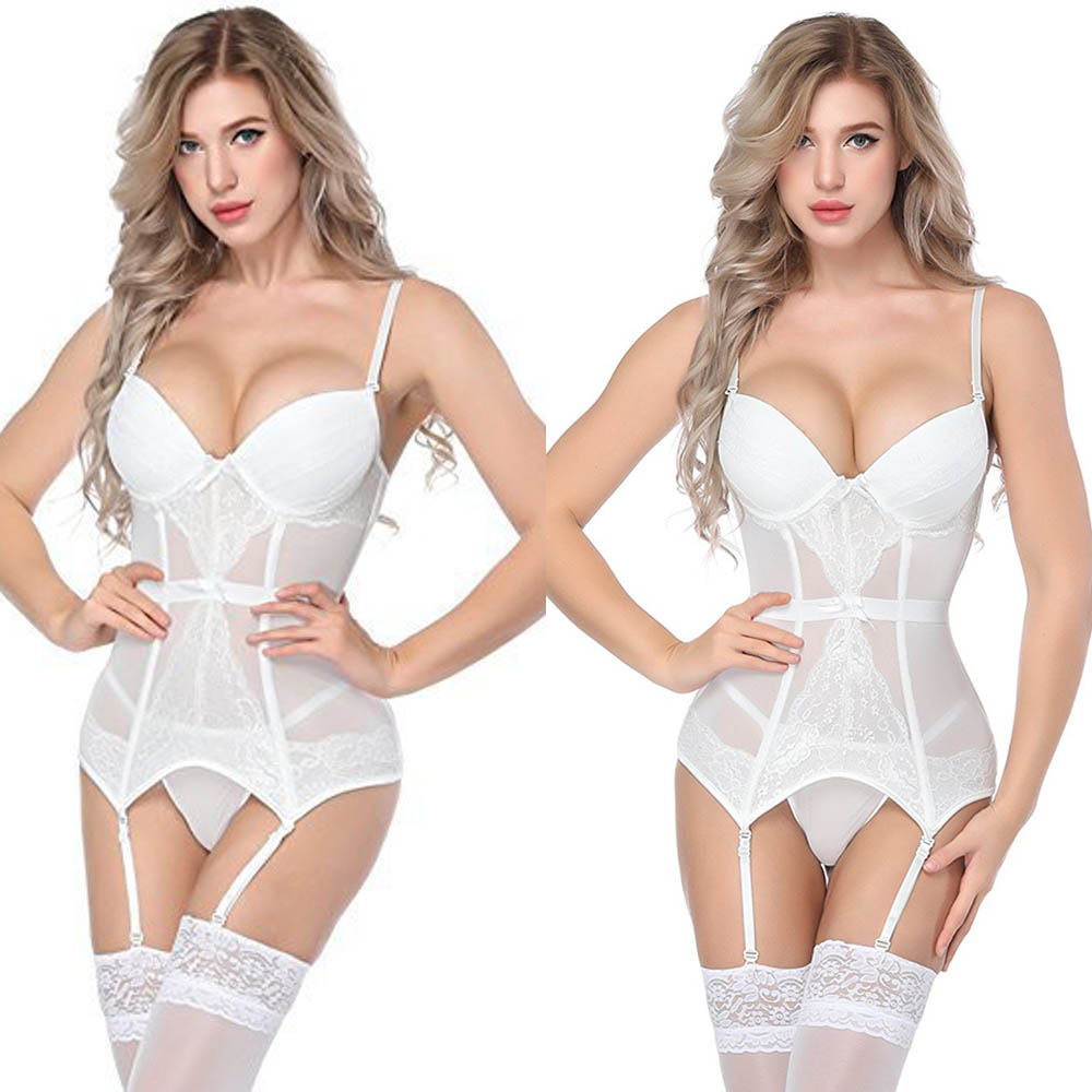 Women Bustier Corset With Cup Girdle Set Straps Belt Breathable Slim Bustier Push Up Corselet Lingerie Set Without Stockings