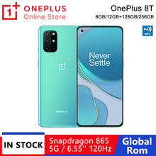 Küresel Rom OnePlus 8 T 8 T 8GB 128GB Snapdragon 865 5G Smartphone 120Hz AMOLED sıvı ekran 48MP dört kameralar 4500mAh 65W çözgü