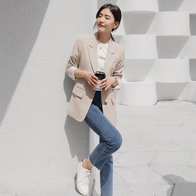 Peonfly New 2021 Autumn Fashion Blazer Jacket Women Casual Korean Pockets Long Sleeve Coat Office Ladies Solid Loose Blazer 3