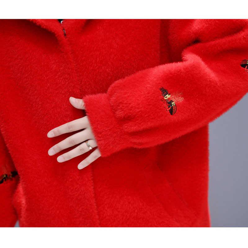 2019 가을 겨울 새로운 긴 물 벨벳 코트 솔리드 컬러 자 수 긴 소매 니트 스웨터 두꺼운 따뜻한 가짜 모피 코트 w1524