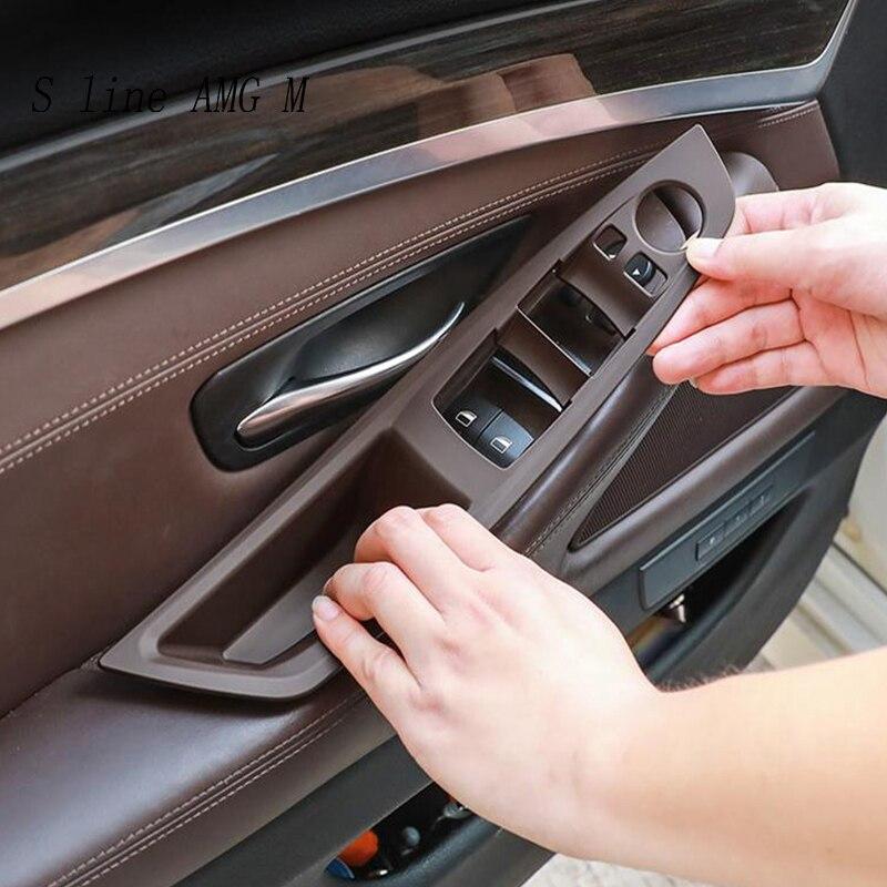 Стайлинг автомобиля, панель для подлокотника двери, защитные наклейки для BMW 5 серии f10 f18, кнопки для подъема стекла на окно, аксессуары для и...