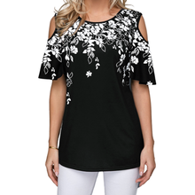 Nieuwe 2020 Vrouwen Zomer Losse T Shirt Casual Korte Mouw Tops Tees Sexy Off Shoulder Print O-hals Vintage T-shirt Plus size S-5XL(China)