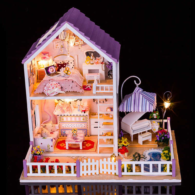 New Arrival Furniture DIY Doll House Wooden Miniature Doll Houses Furniture Kit DIY Puzzle Assemble Dollhouse Toys For Kids Gift