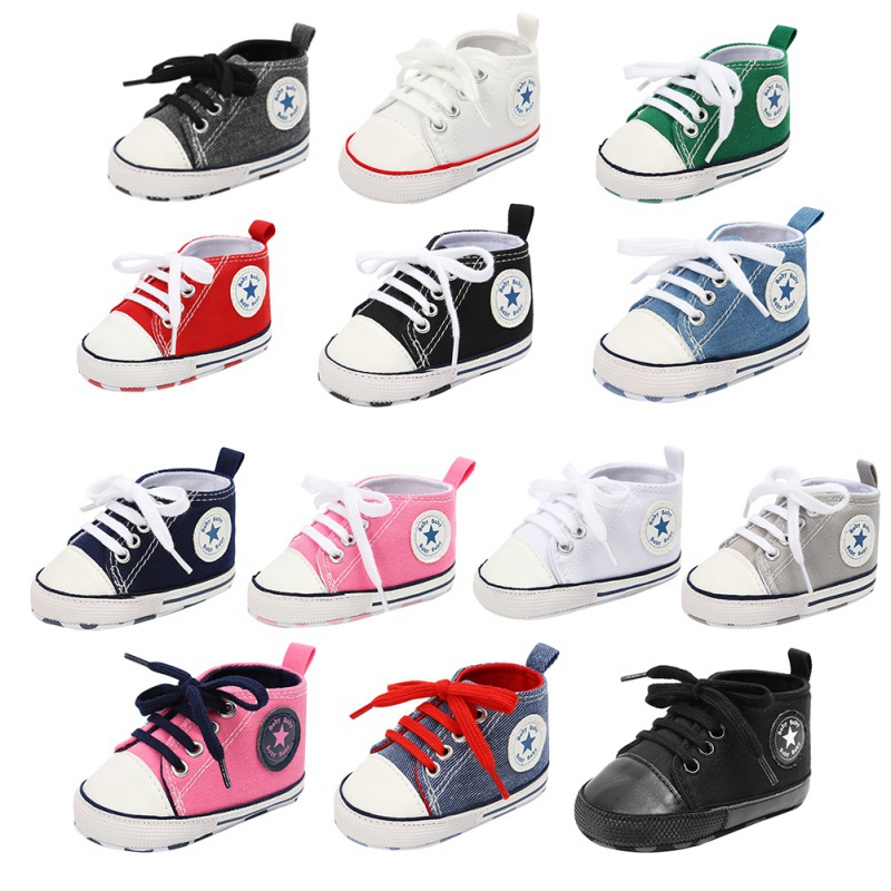 Toddler Kids Casual First Walkers Boys Girls Shoes Spring /autumn Canvas Sneakers High Top Lace Up Baby Shoes