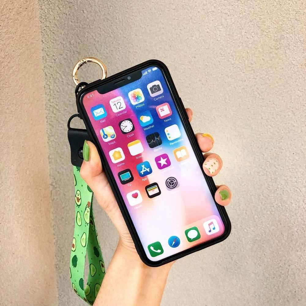 الأفوكادو معصمه حقيبة لهاتف أي فون 11 برو ماكس XS X XR حالة لينة سيليكون i11 برو الهاتف غطاء ل فون 11 برو ماكس الحبل غطاء