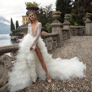 Image 2 - 2020 Sexy col en V profond robes de mariée volants à plusieurs niveaux Tull Tain robe de mariée une ligne à manches longues robes de mariée