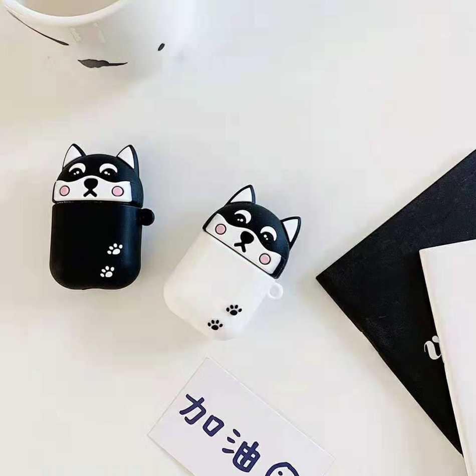 Do etui Airpods 3D nowe słodkie śmieszne kreskówki czarny biały Husky żółty Shiba etui do Airpods 2/i10/i11 TWS osłona