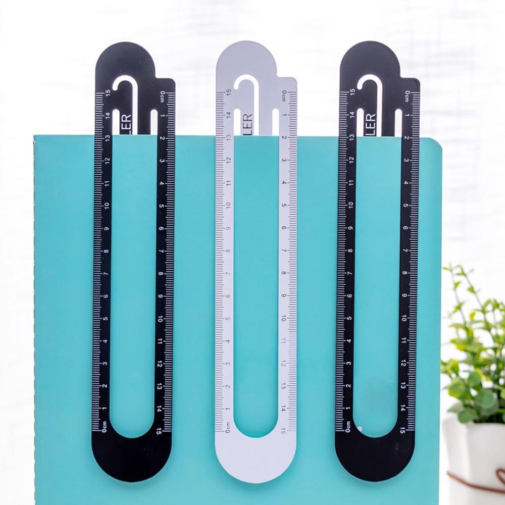 High Quality 12cm 15cm Metal Steel Ruler Bookmark School Student Drawing Supplies