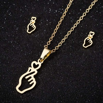 Finger Heart Gesture Pendant Necklace Earrings Set