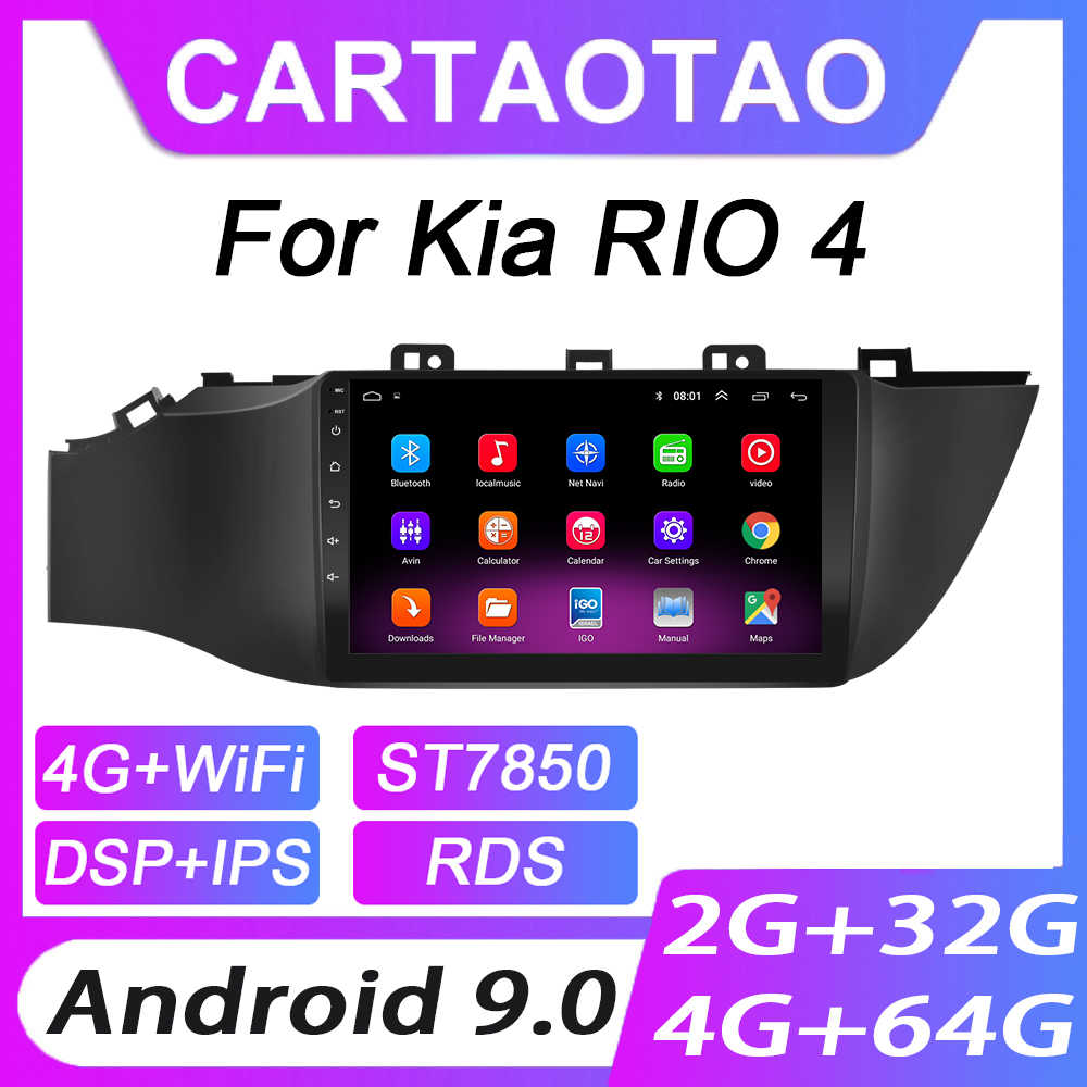 4G + 64G Android 9.0 Mobil DVD Player untuk Kia RIO 4 2017 2018 2019 Mobil Radio GPS navigasi WIFI RDS IPS Multimedia Player 2din
