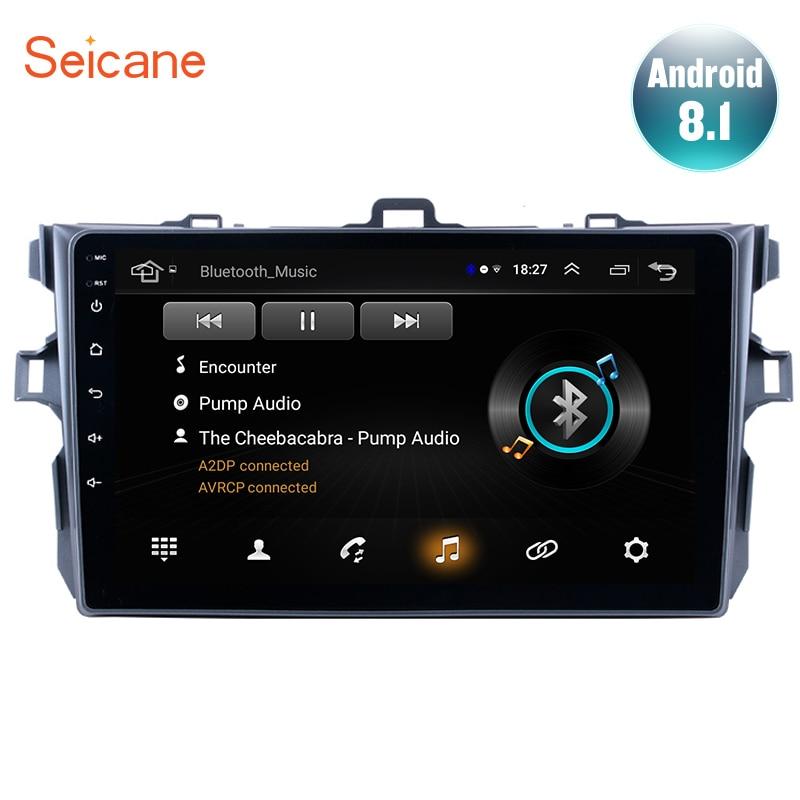 Seicane 9 pouces Android 8.1 pour 2006 2007-2009 2010 2011 2012 Toyota Corolla voiture GPS lecteur multimédia Support Radio miroir lien