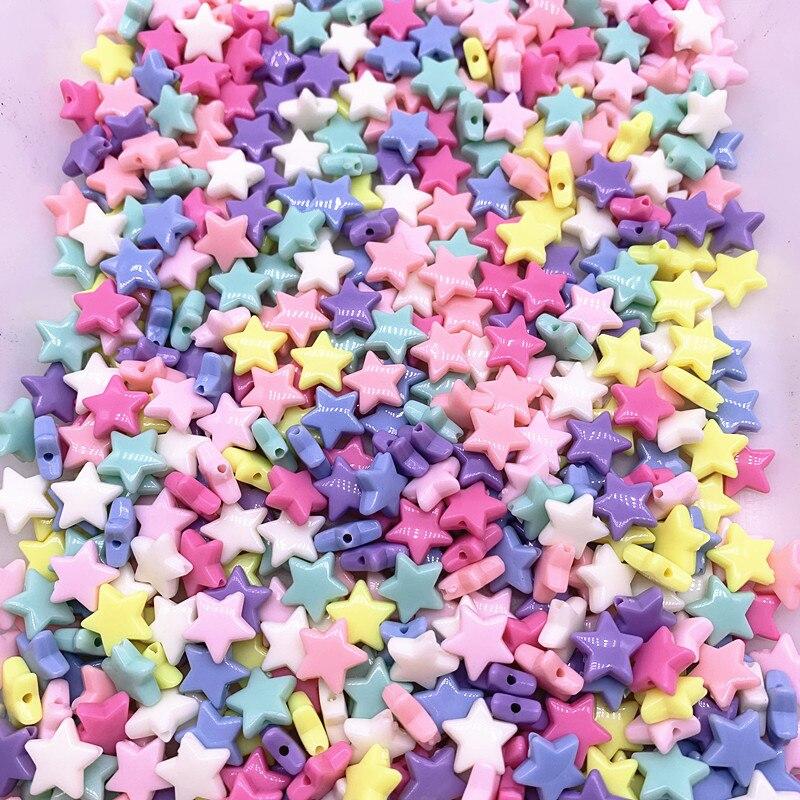 50pcs14mm colorido facetado estrela de cinco pontas acrílico solta espaçador grânulos para jóias que fazem acessórios diy