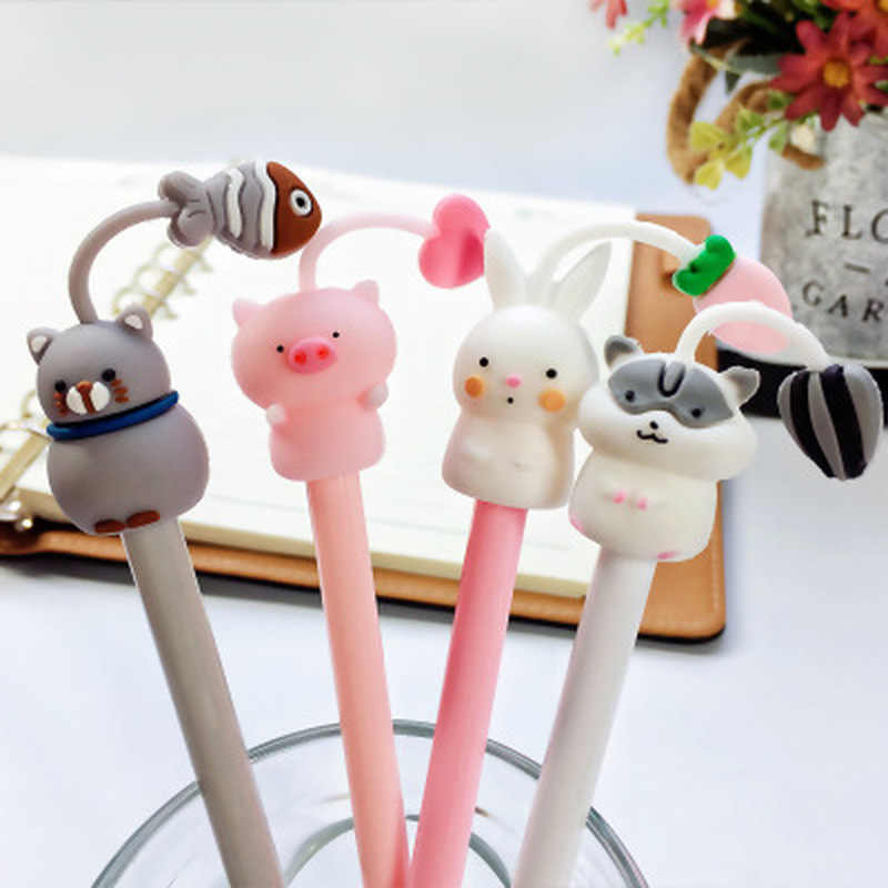Piggy Gel Pen 0.5mm Stationery Cartoon Cute Pens Novelty Gel Pens Student Black Kawaii Pen Stationery Kawaii School Supplies