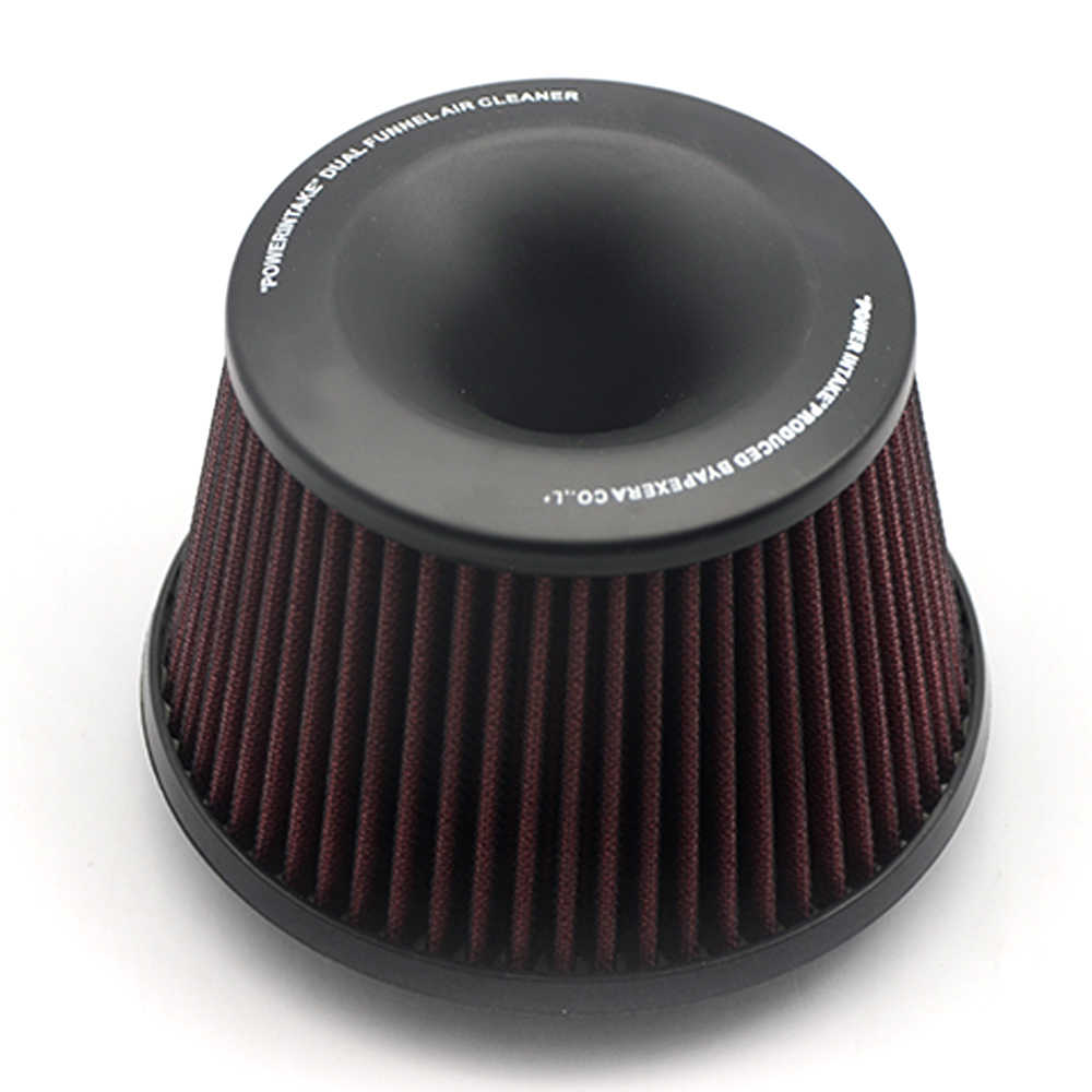 Universal Car Vehicle Inlaatluchtfilter 75 Mm Dual Trechter Adapter Air Cleaner Bescherm Uw Zuiger Met Logo