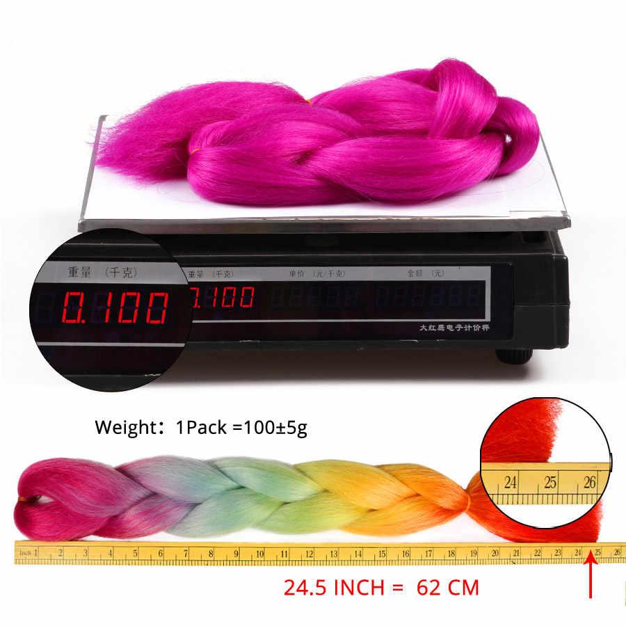 Leeons 虹編組ヘアエクステンション高品質合成ジャンボ毛組紐 24 インチ 100 グラム/ピースカネカロン髪