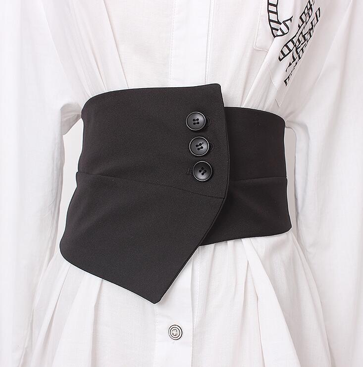 Women's Runway Fashion Elastic Fabric Asymmetric Cummerbunds Female Dress Corsets Waistband Belts Decoration Wide Belt R2838