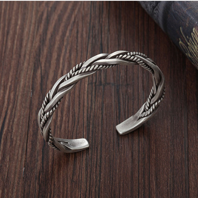 XIYANIKE 925 Sterling Silver Twisted Woven Bracelet Neutral Retro Thai Original Handmade Exquisite Unique Opening Bracelet Gift 3