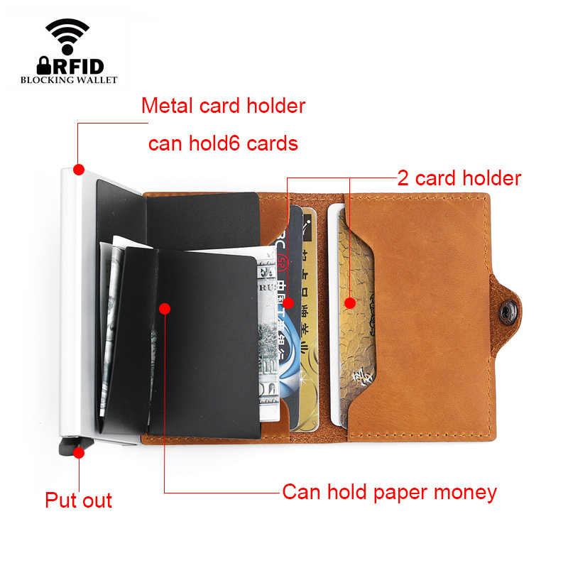 DIENQI Genuine Leather Credit Card Holder Case Anti Rfid Protector Wallet Aluminum Men Women Metal Bank Business id Card Holder