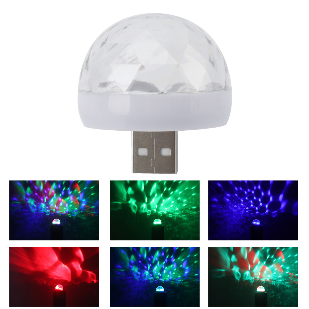 Mini USB LED Disco Stage Light Crystal Magic Ball RGB Color Stage Lighting Effect DJ Lighting Effect For Home Party Club Bar