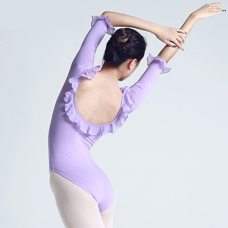 New Ballet Leotard Women Dancewear Professional Training Gymnastics Lotus Leaf Lace Long Sleeve Ballet Tights Adulto Ballerina
