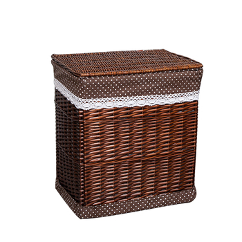 Storage Basket Large Small Brown Dirty Clothes Wicker Laundry with Lid White Decorative Neatening Baskets