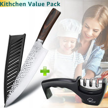 8 inch kitchen chef knife Set With 3 Stage Knife Sharpener Value Pack VIP Purchase Link