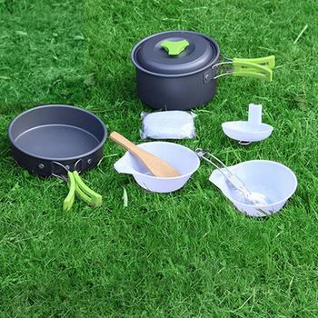 Camping Cookware Outdoor Tableware Set Picnic Table Bag Tourist Dishes Set Of Dishes For A Hike Olla Sarten Camping 1-2 Poeple image