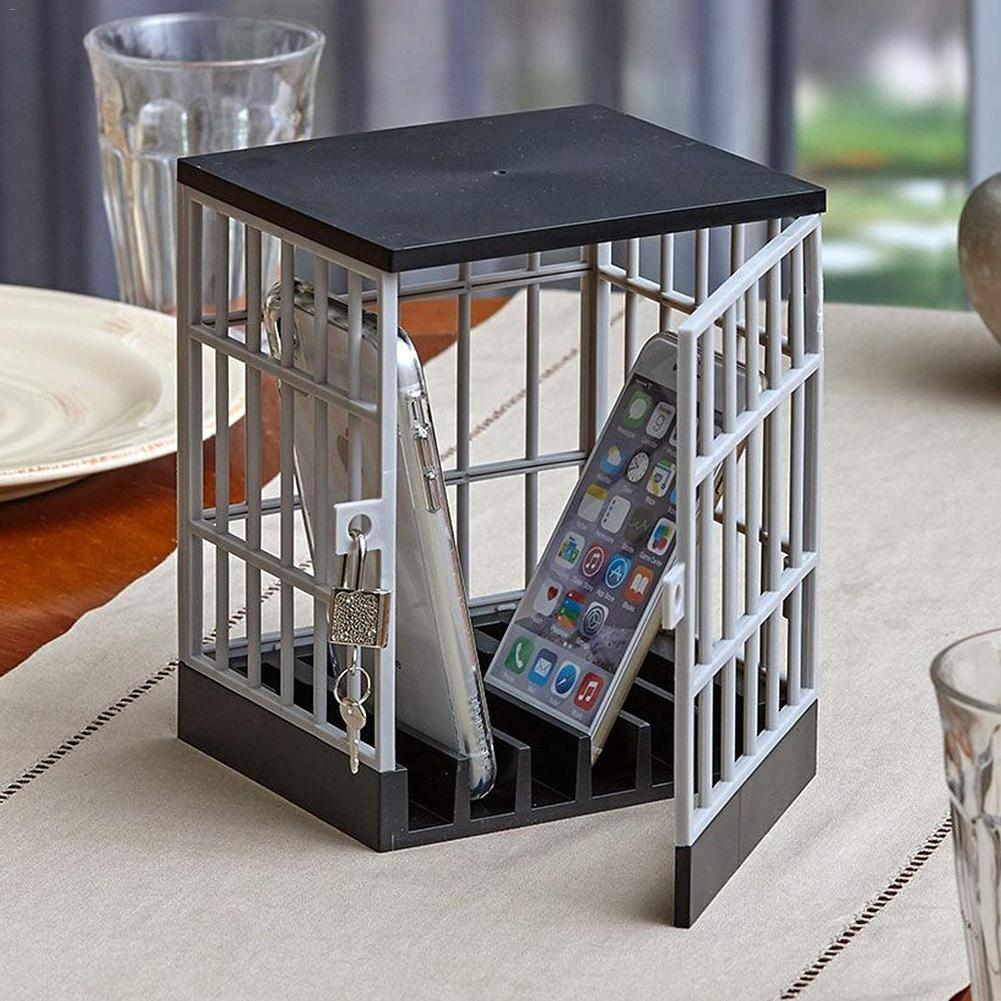 Mobile Phone Jail Cell Prison Lock Up Safe Smartphone Home Table Office Gadget Quality Storage Box Locking Cage Party Storage 4