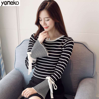 Striped Stretch Knitted T-shirt Women 2020 Autumn Crop Top Flare Sleeve Bow Basic Sweater Casual Long Sleeve T Shirt Female Top raglan sleeve asymmetric striped t shirt