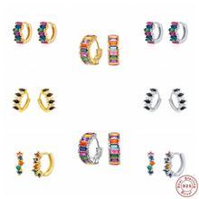 Boucles d'oreilles en argent Sterling 925 pour femme, Cartilage, arc-en-ciel, cristal, créoles, cadeau pour petite amie, sœur