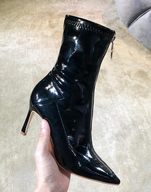 Moraima Snc Fashion Black patent leather Woman Boots Sexy Pointed Toe Front Zipper Ankle Boots Thin Heels Riding Boots